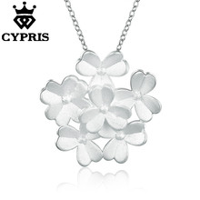 WHOLESALE N737 50% OFF latest design popular silver flower plant 18inch pendant charm necklace jewelry women lady gift xmas(China)