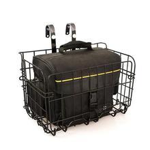 Foldable Metal Wire Basket Front Bag Rear Hanging Basket Mountain Bike Folding Bicycle(Black)