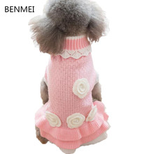 BENMEI 2017 Pet Dog Sweater Spring Autumn Warm Knit Clothes for Dogs Puppy Dresses Apparel Fashion Flower Sweaters(China)
