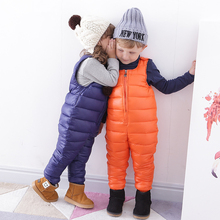 2017 Winter Baby Down Coats Solid Outerwear Fashion Warm Jumpsuit Down Clothes Infant Costume Christmas Gift Kids Clothing