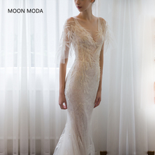 Buy Deep V-neck Sexy long wedding dress 2018 half sleeve Lace Bridal Gown real photo weddingdress vestido de noiva mermaid A-line for $87.66 in AliExpress store