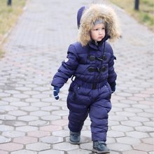 3~6T Russian Winter Baby Down Romper Girls Snowsuit Outdoor Overalls for Boy Kids Snow Outfit Bebe Real Animal Fur Hood Rompers(China)
