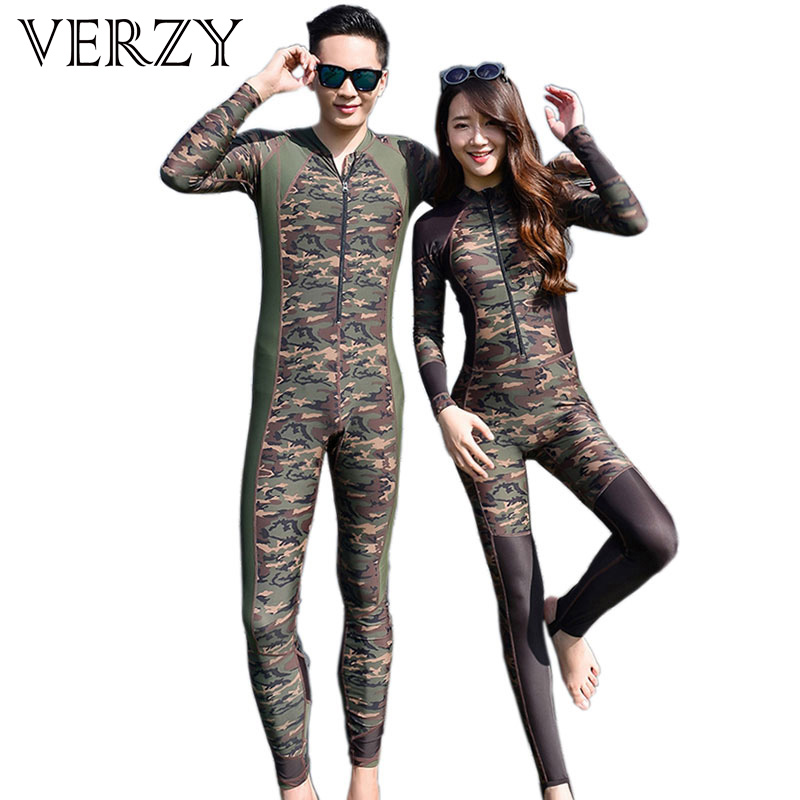 Camouflage Wetsuit Couple Rash Guard Surfing Swimwear High Quality Zipper One Piece Bathing Suit for Lovers Bodysuit Diving Suit<br>