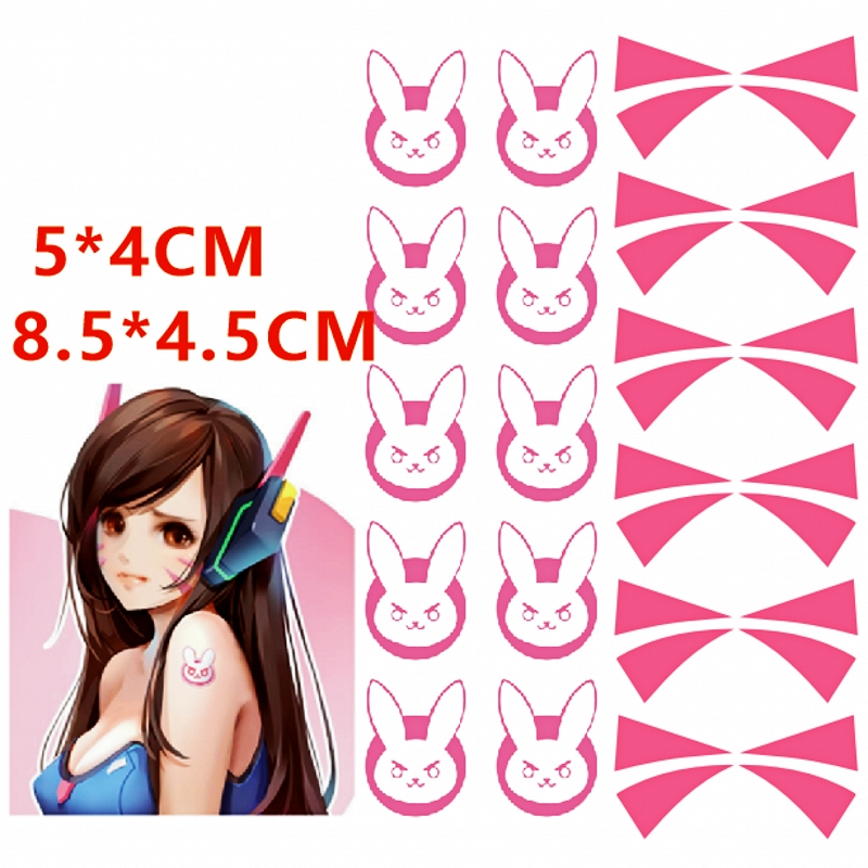 1page Overwatch DVA Face Temporary Tattoo Cosplay Prop