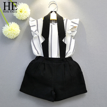 HE Hello Enjoy girls clothing sets 2017 Casual white and black kids clothes girls brand Striped vest T-shirt+Hanging neck suits