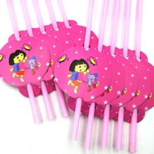 10pcs/bag Dora Party Supplies Drinking Straws Cartoon Birthday Decoration Baby Shower Theme Festival For Kids Girls Boys