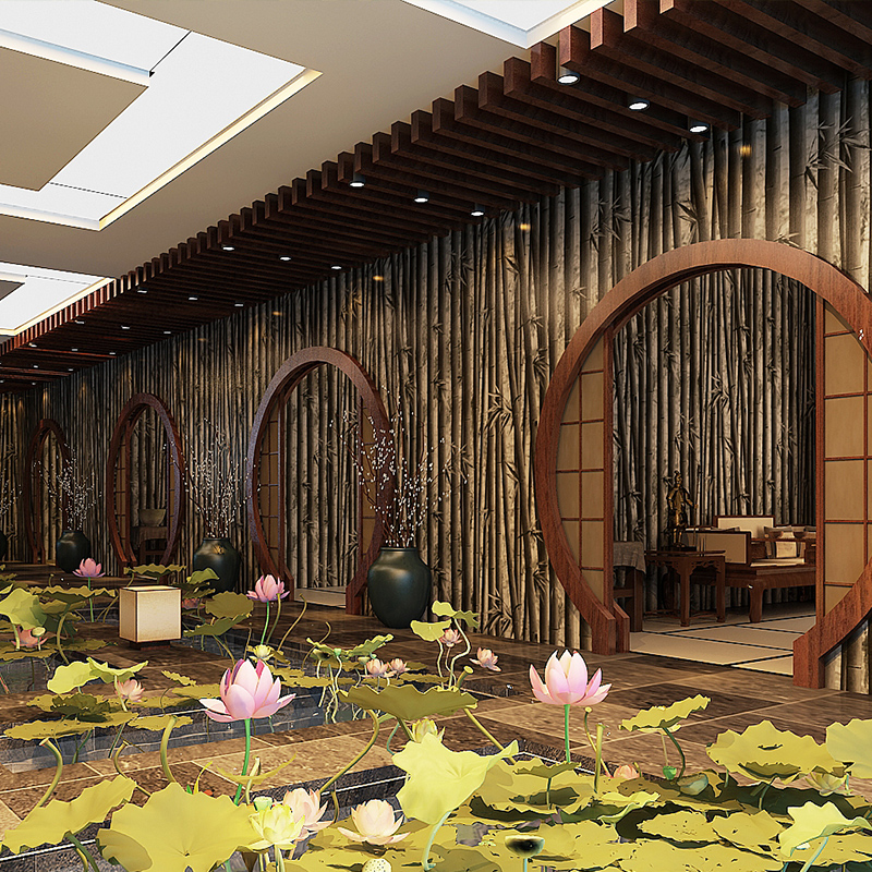 3d Backdrop Bamboo Wallpaper For Walls In Rolls Modern Chinese Tv Living Room 3D Walls Plant Brown Papel De Parede Photo Mural<br>