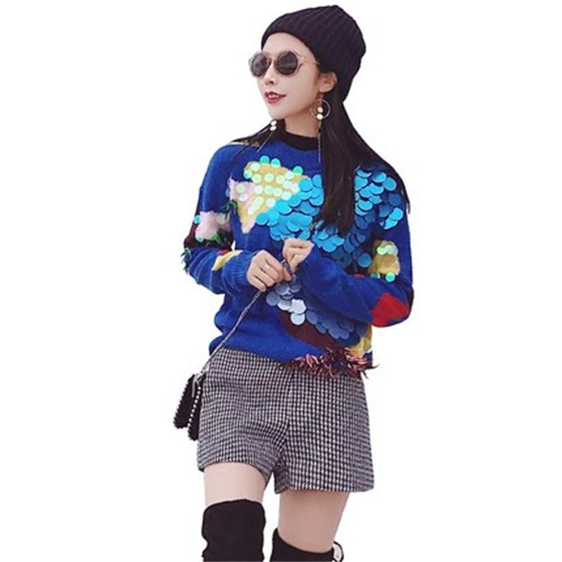 Set women's autumn fashion new Sequins temperament shorts suit sweater two sets of autumn and winter