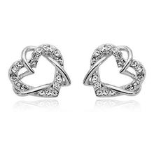 free shipping promotion CUTE hot popular heart locket charm Gift Czech AAA+ rhinestone Double Heart earrings fashion Jewelry(China)