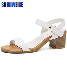 SHIDIWEIKE Women Summer Genuine Leather Sandals 2017 Fashion Sweet Square Heel Sandal Ladies Platform Soft Female Shoes b800