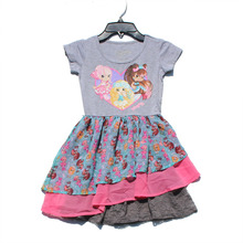 Retail 4-16T Fruit Costume Collection for kids Princess Party dress Girl Dresses Big girls Grey Dress Children Summer Clothing(China)