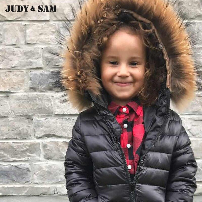 2017 Top Solid/Camouflage Color Removable Real Raccoon Fur Collar Winter Outwear Down Jacket For Kids Duck Down With Cotton HatÎäåæäà è àêñåññóàðû<br><br>