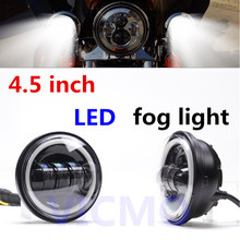 "Pair 4.5"" Harley Motorcycle Fog Lamp Halo Ring HID LED Fog Lights Bulb AUX PAIR 4-1/2"", Led Fog Lamps Angel Eyes For Harley"