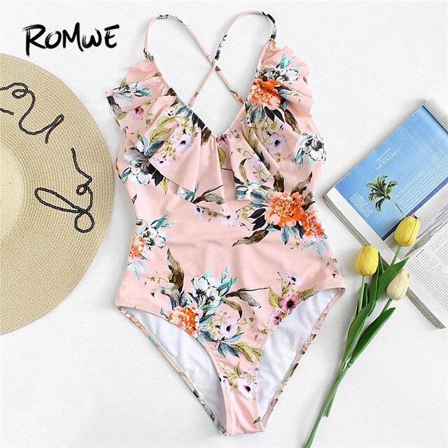 Traje de baño una sola pieza Floral RuffleMonokini