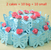 20pcs (2cakes) Blue Cake Style Wedding Favors Bomboniera Candy Boxes Pink Flower Decoration Chocolate (10 small + 10 big)