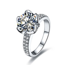 Real Pure 18K White Gold Jewelry Lotus Design Super Paved Micro Paved 4CT SONA Simulate Diamond Arrows Carbon Engagement Ring(China)