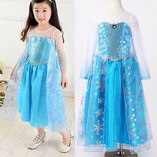 Baby Girls Clothes Dress Princess kids Cartoon Halloween Cosplay Formal Fancy Long Blue Girls Dresses Costume 2 3 4 5 6 Years