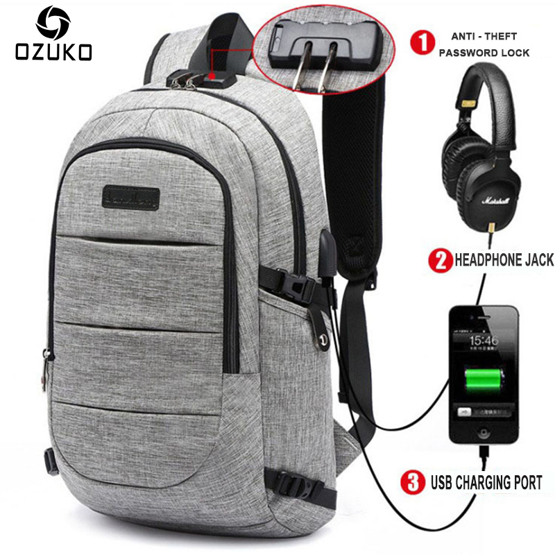 OZUKO 15.6inch Laptop Backpack Mens Waterproof USB Charge Business Travel Backpack Password Lock Anti-theft Backpack School Bag<br>