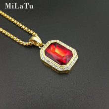 MiLaTu Hip Hop Full Bling Multicolor Stone Pendant Necklace Stainless Steel Women Men Nightclub Necklace Jewelry Gift NE623G(China)