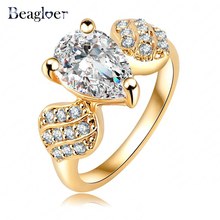 Beagloer New Brand Ring Gold Color Micro Inlay AAA Cubic Zircon Flying Fish Elegent Women Finger Ring Ri-HQ0383-C