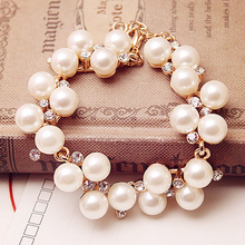 LNRRABC Charm Bracelets Crystal Alloy Simulated Pearl Chain & Link Bracelets Rhinestone Beads Bangle Wedding Jewelry Accessories