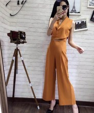 Hot selling women's fashion clothing sets tops V neck with long pant office lady slim casual sets black red yellow size XL #L230