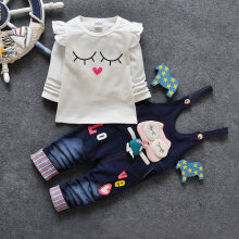 Autumn Children Cotton Hello Kitty Tracksuit Denim Coveralls Jeans T Shirt Sweatshirts 2PCS Baby Girl Boy Clothing Set Kids Suit(China)