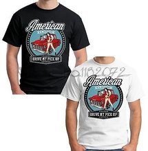 Velocitee Mens American Pick Up Truck T Shirt Chevy Apache 50's Sexy Pin Up V46