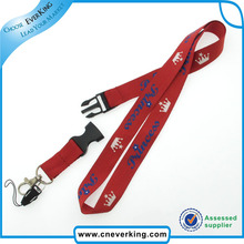 Free shipping charge for 100pcs/lot Hot Sale Custom Logo dye sublimation printed lanyards with Metal Hook and Phone String