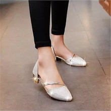 Women's shoes 2017 summer new sideways pointed sandals women low with shallow mouth breathable sequins women's shoes(China)