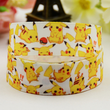 7/8'' (22mm) Pokemon Cartoon Character printed Grosgrain Ribbon party decoration satin ribbons X-01193 OEM 10 Yards