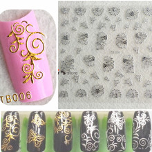 1Sheets Hot 3d Designs 12.5x10.5cm Beauty Gold/Silver Stamping Decals Nail Art Tips Nail Stickers Glitter Decoration TRTN001-006(China)