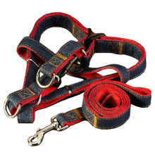 120cm Red Denim Jean Dog Leads Set 4 Size adjustable Pet Accessories Puppy Cat Training Walking Harness Leash For Dogs