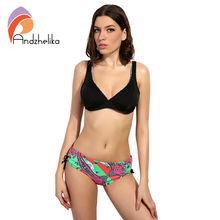 Andzhelika Bikinis Swimsuit 2017 Summer Beach Wear Solid Soft cup Bra Print Bottom Bikinis Set Swimwear Female Swim Suits(China)