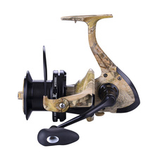 Camouflage Spinning Fishing Reel Aluminium Spool and CNC Handle 12+1 Ball Bearing Big Reel Long Distance(China)
