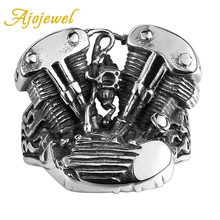 Ajojewel Mechanical Storm Personality Stainless Steel Motorcycle Engine Ring Men Brand Jewelry