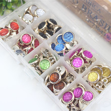 154480 ,13mm Plastic Rose gold Buttons, 10 color mix , Beads combination button , 100 pcs , clothing accessories, DIY handmade