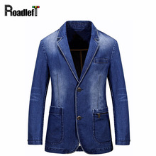 Men's Denim Casual Blazer Men Fashion Cotton Vintage Suit Jacket Male Blue Coat Denim Jacket Plus Size Jeans Blazers