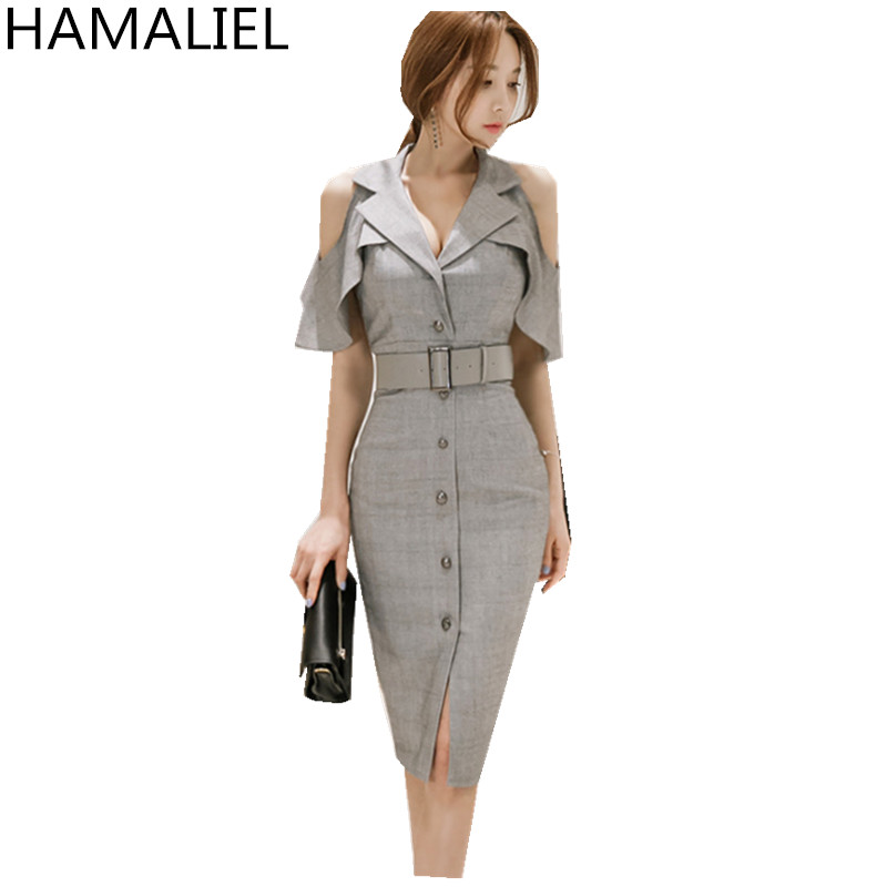 Korean Summer Women Office OL Dress 2018 Fashion Business Gray Shoulder Butterfly Sleeve Female Notched Collar Work Dress