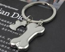 1pc hot sale fashion accessories pet pendant Quality male car dog bone keychain laser Tag key gift(China)