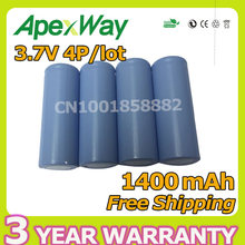 Apexway 4 PCS/lot 1400mAh 3.7V 18500 Battery For Flashlight electric remote control toys batteries rechargeable 600 times