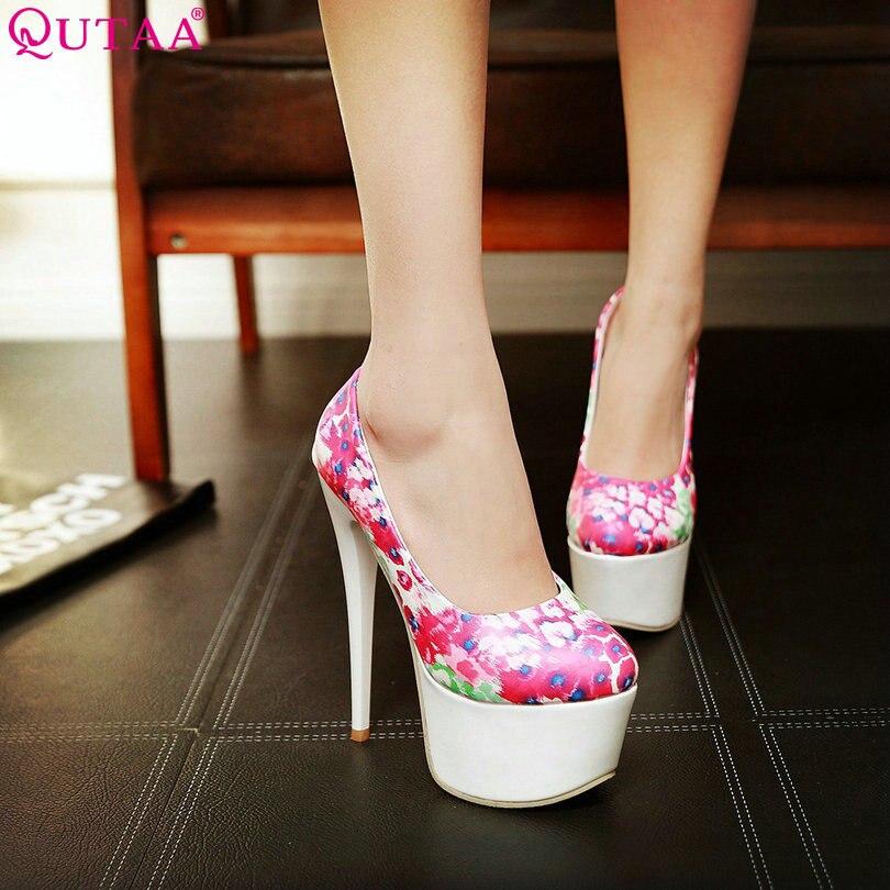 QUTAA Yellow Ladies Summer Shoes Thin High Heel Platform Woman Pumps PU Printing leather Women Wedding Shoes Size 34-40<br><br>Aliexpress