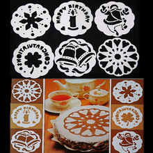 6PCS Big Size Christmas Bell Pull Flowers Candle Cake DIY Stencil Food Grade Bread Dessert Decorating Kitchen Baking Tools