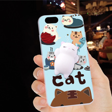 For HTC One A9 Aero A9 A9W Case Squishy Finger Pinch 3D Cute Cat Seal Silicone Phone Cover Shell Coque For HTC one A9S E8 M8SD