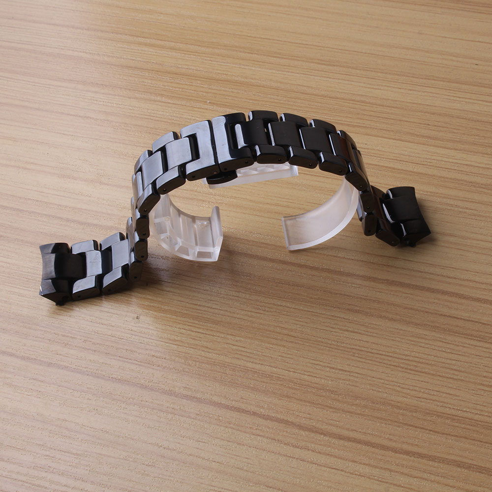 Black Ceramic Special curved end fit Gear S3 Wristwatch band strap bracelet replacement Frontier watchband high quality men lady<br>