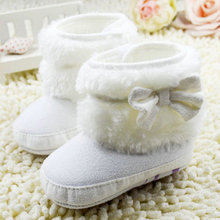 2017 Baby Girl Bowknot Fleece Snow Boots Booties Kids Princess White Shoes for babies Winter