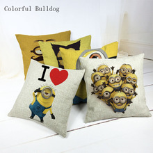 Pillows Decorative Covers Yellow Character Cute Cushion Covers Spider Shield Cartoon Heart Pattern 45*45cm Square Cojin Fundas(China)