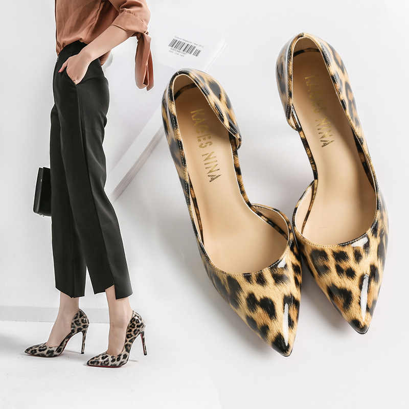 Women High Heel Shoes Pointy Toe Leopard Print Genuine Leather Sandals Fshaion Casual Office Lady Pumps