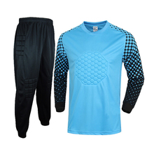 Blue Customized Men's Soccer Goalkeeper Jerseys Sets Football Goal Keeper Camisetas De Futbol Sponge Uniforms Suit Free Shipping(China)