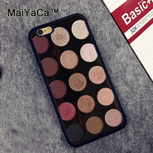 MaiYaCa Makeup Eyeshadow Palette Girly Printed Soft TPU Skin Phone Cases OEM For iPhone 6 6S Plus 7 7 Plus 5 5S 5C SE Back Cover(China)